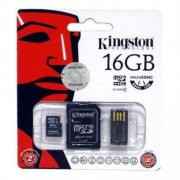 Memóriakártya, Micro SDHC, 16GB, Class 4, SD+USB adapterrel, KINGSTON