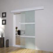 vidaXL Плъзгаща врата, алуминий и стъкло, 178 см, сребриста