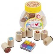 Játék nyomda készlet vadállatos nyomdákkal, négyszínű festékpárnával