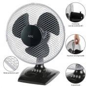 AEG VL 5529 - Ventilador de mesa y pared, oscilante, 30cm , 3 velocidades, 30W
