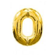 Balon folie cifra 0 auriu
