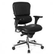 Hjh Sedia per ufficio LONDON in vera pelle, con vari optional e opzioni di regolazione, in colore nero