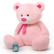 5 Feet Big Pink Teddy Bear with a Muffler