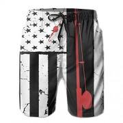 NUNOFOG Bañador para Hombre, diseño de Bandera Estadounidense, Blanco, Medium