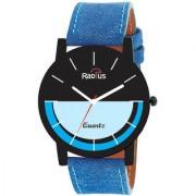 Radius Quartz Two Layer Black Blue Analog Round Dial Men's Watch
