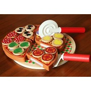 Trinkets & More Kids Wooden 18 Toppings Pizza Set, Role Play Toys, Fine Motor and Sorting Skills Fun (Multicolour)