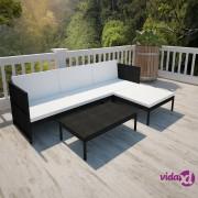 vidaXL 3-dijelna vrtna garnitura od poliratana s jastucima crna