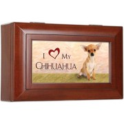 I Love My Chihuahua Dog Cottage Garden Rich Woodgrain Petite Jewelry Music Musical Box Plays Song Wo