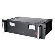 Fuente de poder 13.8Vcd, 35A, lineal regulada con circuito cargador de baterías, medidores, para instalación en rack