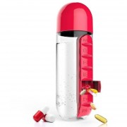 600ML De Agua Botella La Caja De La Píldora-Rojo
