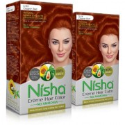 Nisha Cream-Based Hair Color (60gm + 60ml + 18ml Nisha Conditioner with Natural Herbs) (Pack of 2) Copper Red 5.64