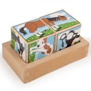 Cuburi puzzle cu sunete, Animale de la fermă