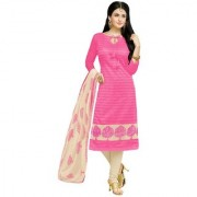 Rise on fab New Designer Baby pink and cream color chanderi cotton Unstitched Dress for woman And Girls(OMNS183)