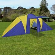 vidaXL Палатка за къмпинг за 6 човека, цвят морско син/жълт