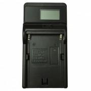 Ismartdigi FM500H portatil LCD cargador de bateria de camara movil USB para Sony NP-FM500H-Negro