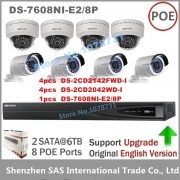 Hikvision CCTV System NVR DS-7608NI-E2/8P 8 POE + 4pcs DS-2CD2142FWD-I + 4pcs DS-2CD2042WD-I 4MP IP Camera Surveillance camera