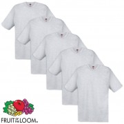 Fruit of the Loom 5 T-shirt original em algodão cinzento, XXL