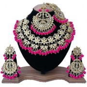 Finekraft Designer Gold Plated Bridal Bollywood Wedding Style Kundan Necklace Set With Earrings Maang Tikka Sided Passa Jewelry