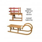 Slede davos hout krul 95cm + rugleuning (houten slee)