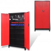 vidaXL Gereedschapskast met 2 deuren 90x40x180 cm staal zwart en rood