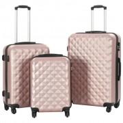 vidaXL Комплект твърди куфари с колелца, 3 бр, розово злато, ABS