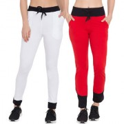 Cliths Women's Pack of 2 White Black Red Black Solid Cotton Slim Fit Trackpant for Daily Use