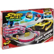Set de joaca cu 2 masinute High Speed 3 Level Racing, Track Motormax