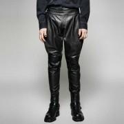 Punk Rave Gothic Theory Pleated Leather Pants Black K-262
