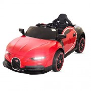 Baybee Bugatti Chiron Battery Operated Ride on Car with Flashing Wheel Lights, Swing Function, MP3 + USB AUX Facility, Music, Horn for Kids | Parental Remote, Seatbelt ( Red )