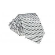 Pánská bílá slim kravata s černými čtverečky - 6 cm