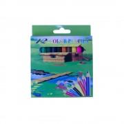Creioane Colorate Mici EVOffice 12 Culori/Set, Dimensiuni 9x0.7 mm, Confectionate din Lemn, Forma Hexagonala