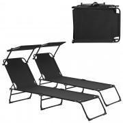 [casa.pro]® Ležaljka za sunčanje - set od 2 kom. - sa sjenilom - ležaljka za plažu - crno
