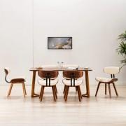 vidaXL Трапезни столове, 6 бр, кремави, извито дърво и изкуствена кожа