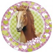 Merkloos 8x Paarden thema versiering papieren wegwerp borden 23 cm