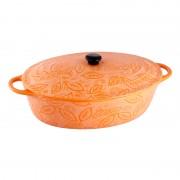 Cratita ceramica Vabene, 2.6 l, ovala, capac, Portocaliu