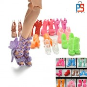 P S Retail Colourful Fashion Doll Shoes,Heels Sandals Compatible for Barbie Dolls(Multicolour) -Set of 15 Pairs