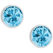 PeenZone 92.5 Silver Royal Blue Cubic Zirconia Ear Tops For Women Girls