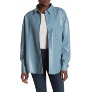 TOV Long Sleeve Faux Leather Fringe Jacket BLUE