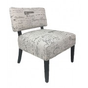 Premium French Provincial Accent chair - 100% Natural Linen with Black Writing - Black Legs