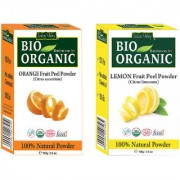 Indus valley Bio Organic Lemon Peel + Orange Peel Powder Combo-Set of 2