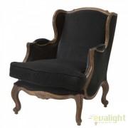 Fotoliu Lux elegant design clasic, Grand Pere negru/ stejar 105071u HZ