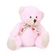 Star Walk Bear Plush with Love You Ribbon, Baby Pink