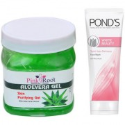PINK ROOT ALOEVERA GEL 500G WITH POND'S WHITE BEAUTY FACEWASH