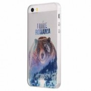 Husa Silicon Transparent Slim I Love Romania Apple iPhone 5 5S SE