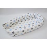 Baby nest 0-8 luni 3 in 1 culcus, protectie patut si saltea Stele bleu si gri