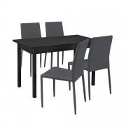 PremiumXL - [en.casa] Design blagovaonski set - stol sa 4 stolice (sivi)