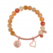 CO88 Armband met bedels bar/hart/klaver rosé/geel/rood 8CB-50009