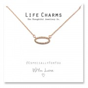 Life Charms Ketting met Giftbox Rose Gold CZ Oval