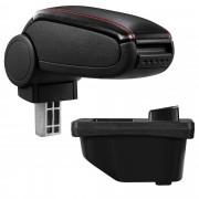 Подлакътник [pro.tec]® Peugeot 308 I с контейнер за съхранение, Изкуствена кожа/Черен с червен шев