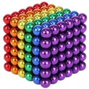 Joc Puzzle Antistres NeoCube cu Bile Magnetice 216 Bucati, Diametru Bile 5mm, multicolor